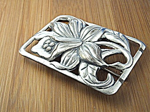Brooch DANECRAFT Sterling Silver Lily anf Leaf US Pat  (Image1)