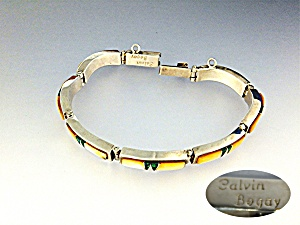 CALVIN BEGAY Golden Abalone Opal Sterling Silver Bracel (Image1)