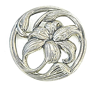 Beautiful Large Sterling Silver Flower Brooch (Image1)