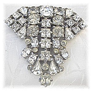 Dress Clip Rhinestone Foil Back Antique Fur Clip (Image1)