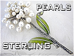 Pearl Marquisite Enamel Flower Sterling Silver Brooch (Image1)