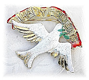 Silver Gold Olive Brach Peace Dove Brooch Pin  (Image1)