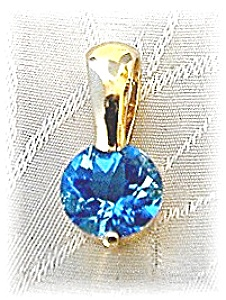 Pendant 14KGold & Heart Shaped Blue Topaz  (Image1)