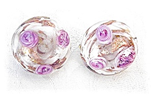 Clip Earrings Venetian Glass Pink Roses (Image1)