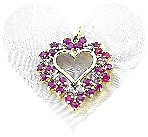 10K Gold Ruby and  Diamond Heart Pendant (Image1)