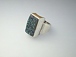 Ring Sterling Silver Electric Blue Druzy By Starborn