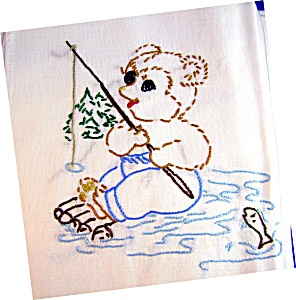 5 HAND EMBROIDERED FLOUR SACK KITCHEN TOWELS (Image1)