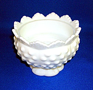 FENTON HOBNAIL MILK GLASS CANDLE BOWL (Image1)