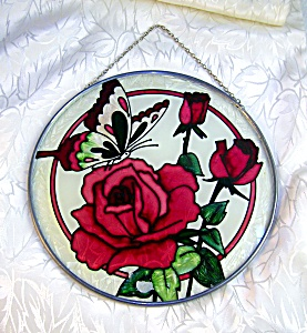 Leaded Glass Suncatcher Butterfly And Roses.....