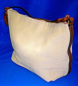 Fossil Cream Fabric And Brown Leather Trim Purse