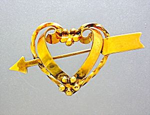 Gold Heart and Arrow Brooch Pin 12K GF Linc (Image1)