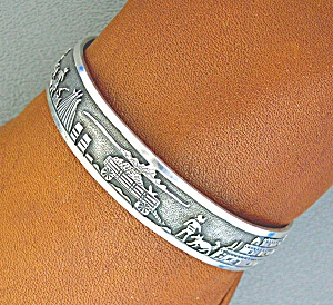 Native American Sterling Silver Lh Storyteller Cuff