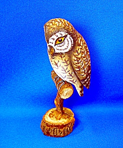 Hand Carved Wooden Barn Owl (Image1)
