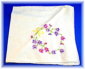 EMBROIDERED HANKIE - forget-me-nots . . . . (Image1)