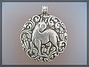 Pendant Sterling Silver Mythological Animal Flowers Vin