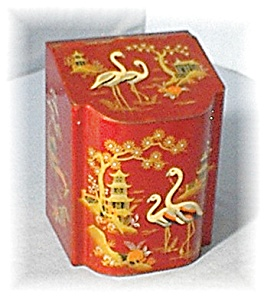 Vintage Hinged Oriental Look English Tea Tin (Image1)