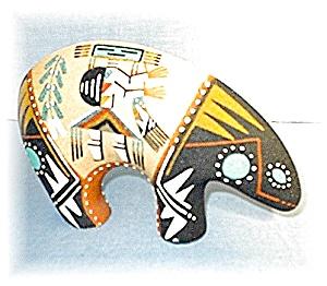 Navajo Sand Painted Bear USA 8 1/2 Inches (Image1)