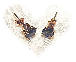 Earrings 14K Gold Sapphire Blue Stone Pierced  (Image1)