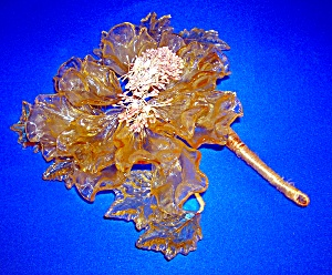 Glass Amber and Green  Flower  Decoration (Image1)