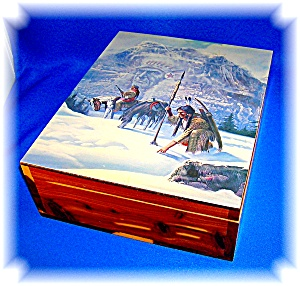 Wooden Box Cedar, Estes Park Colorado Indian motif  (Image1)