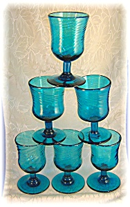 6 Hand Blown Blue Glass Footed Cordial Glasses . .