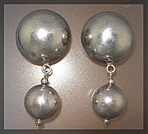 Earrings Dome Ball Sterling Silver Dangle Clip
