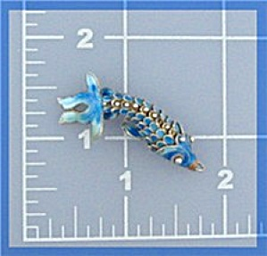 Silver Blue Enamel Articulated Fish Charm (Image1)