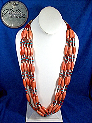 Necklace Pink Red Coral Turquoise Hematite Audie Yazzie