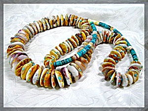 Necklace Yellow And Turquoise Spiny Oyster ............