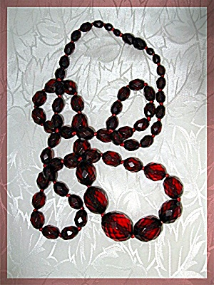 Necklace Red Coral American Indian 7 Strands Ss Clasp..