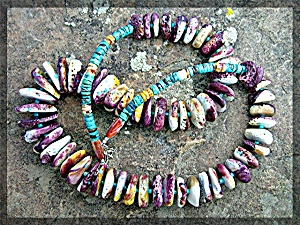 Necklace Purple Yellow Turquoise Spiny Oyster .........