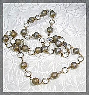 Necklace Austrian Crystals Gold Ball Linked Usa .......