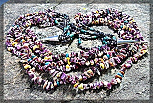 Necklace Purple Spiny Oyster Turquoise Heishi 5 Strand