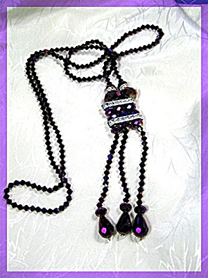 Necklace Purple White Crystal Tassle Necklace .........