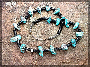 Necklace Santo Domingo  Black Jet Turquoise Coral (Image1)