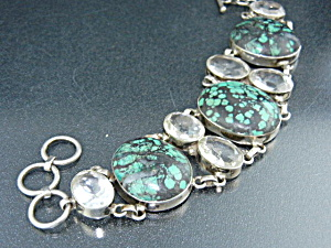 Paige Wallace Sterling Silver White Topaz Turquoise