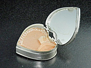 Rouge Mirrored Pill Box Heart Shaped Sterling Silver
