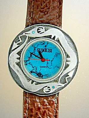 SURRISI Sterling Silver Turquoise Santa Fe Serpent  (Image1)