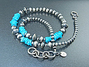 Navajo Sterling Silver Turquoise Beads Necklace