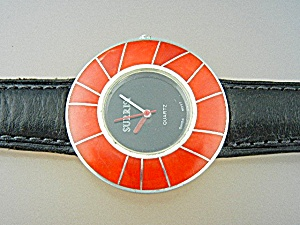 Watch Surrisi Sterling Silver Inlay Coral Leather Band