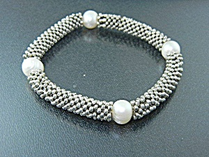 Bracelet Sterling Silver Freshwater Pearls Stretch
