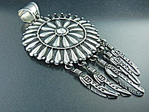 Navajo Sterling Silver Large Pendant L James