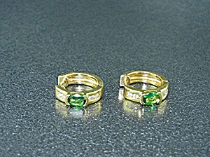 18k Gold Diamond Green Tourmaline Huggie Earrings