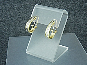 14k Gold Baguette Diamond French Clip Earrings 1 Ct