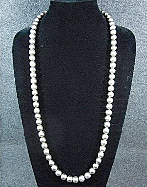 Navajo Pearls Necklace 21 Inches Silver Plate