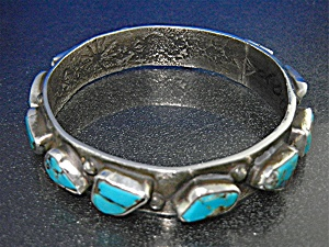 Zuni Sterling Silver Kingman Turquoise Bangle Bracelet