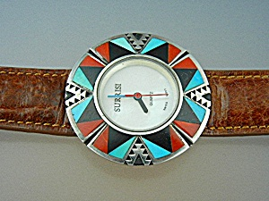 Watch Surrisi Sterling Turquoise Onyx Coral Inlays