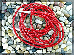 Native American Coral 5 Strand Necklace Sterling Silver (Image1)