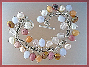 Sterling Silver Pearls Rose Quartz Toggle Clasp Bracele (Image1)