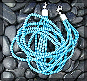 Necklace Turquoise Sleeping Beauty 5 Strand  Sterling S (Image1)